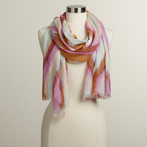 Purple and Camel Waves Scarf