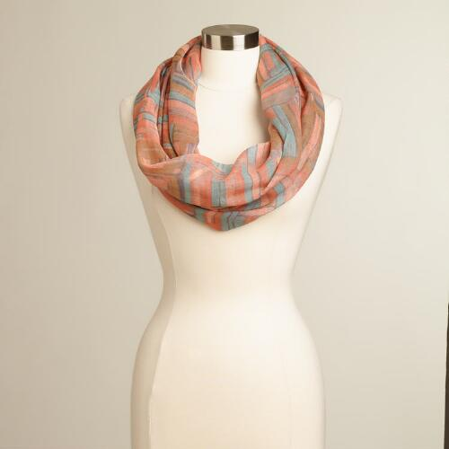 Peach and Blue Geometric Infinity Scarf