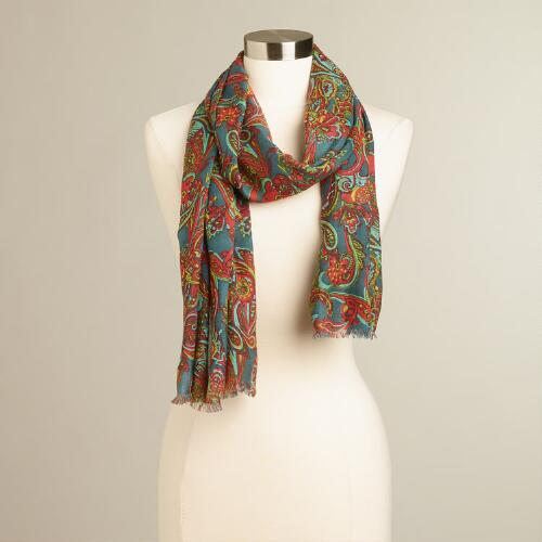 Blue and Pink Paisley Scarf