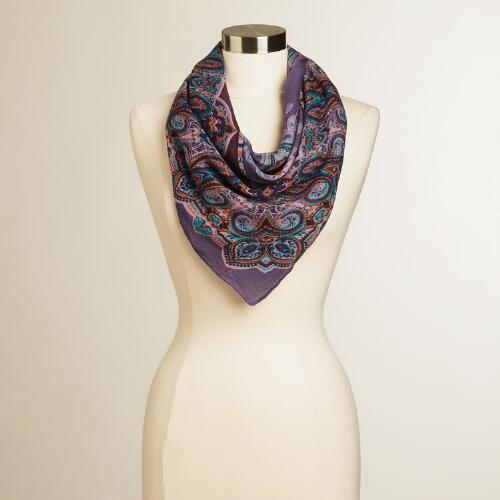 Purple Plaid Square Scarf