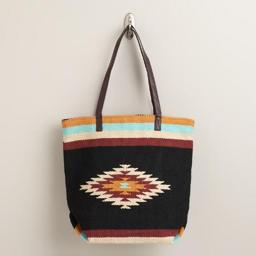 Black and Blue Kilim Tote Bag