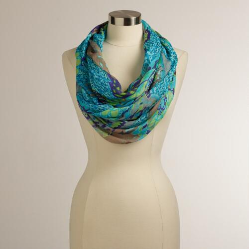 Blue-Floral Infinity Scarf