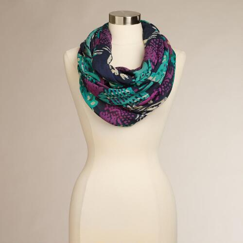 Purple and Turquoise Abstract Infinity Scarf