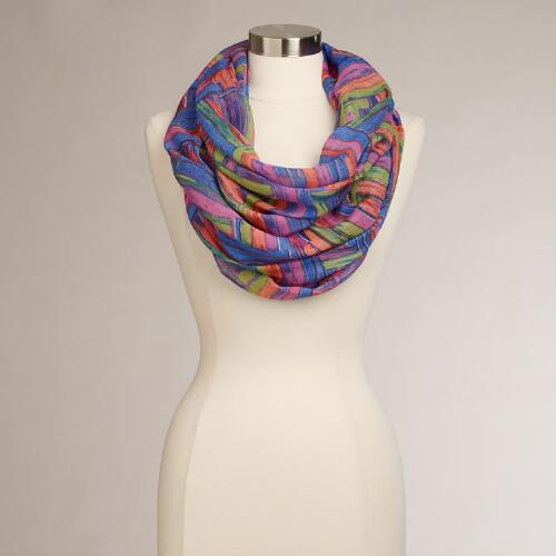 Blue and Orange Geometric Infinity Scarf