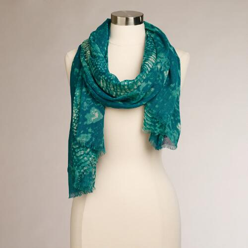 Teal Snake Infinity Scarf