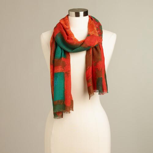 Orange and Green Squares Scarf
