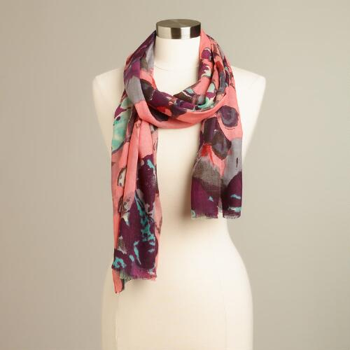 Pink and Gray Floral Abstract Scarf