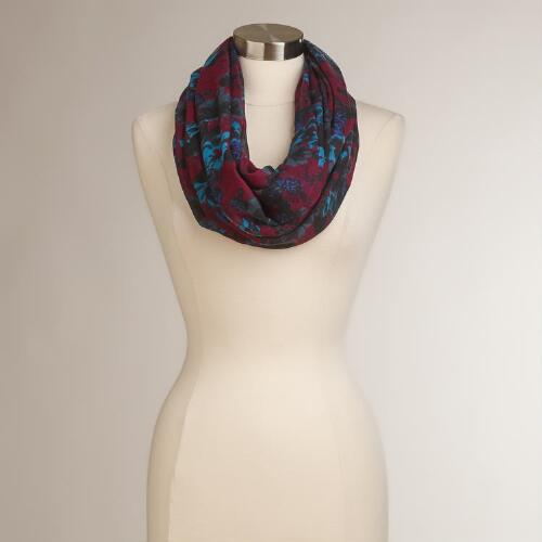 Dark Red Floral Infinity Scarf