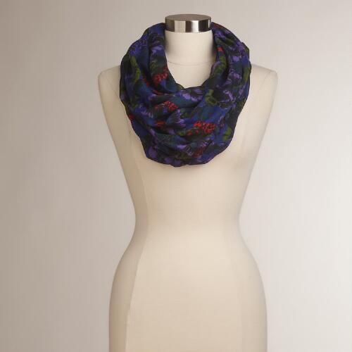 Dark Purple Floral Infinity Scarf