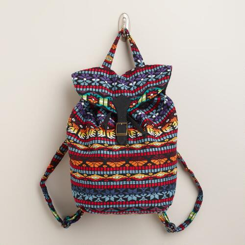 Multicolored Woven Backpack