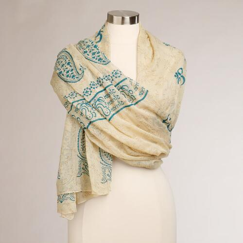 Ivory and Teal Prayer Shawl