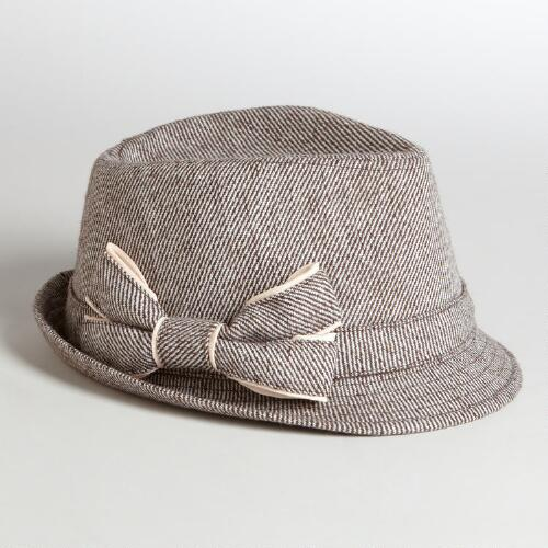 Brown Bow Tweed Fedora Hat