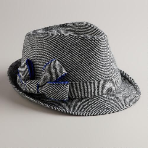 Black Bow Tweed Fedora Hat