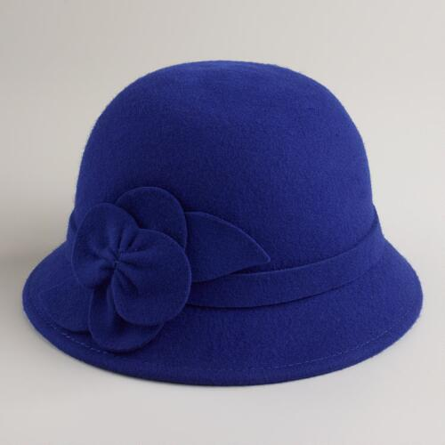 Cobalt Wool Flower Cloche Hat