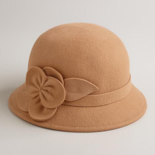 Camel Wool Flower Cloche Hat