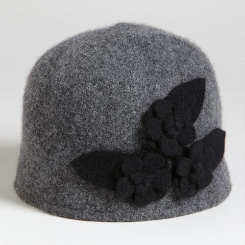 Gray Wool Flowers Cap