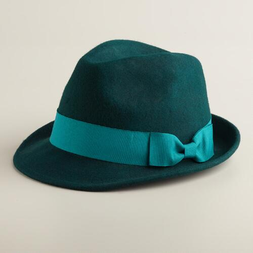 Green Wool Fedora Hat