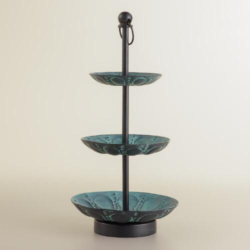 Green Patina 3-Tier Jewelry Stand