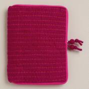 Fuchsia Striped Felt iPad Case