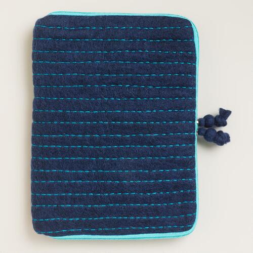 Blue Striped Felt iPad Case