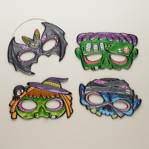 Sequined Masks, Set of 4