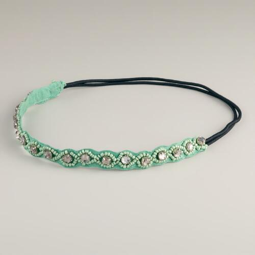 Mint Large Rhinestone Elastic Headband