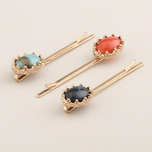 Oval Stone Hair Pins, Set of 3