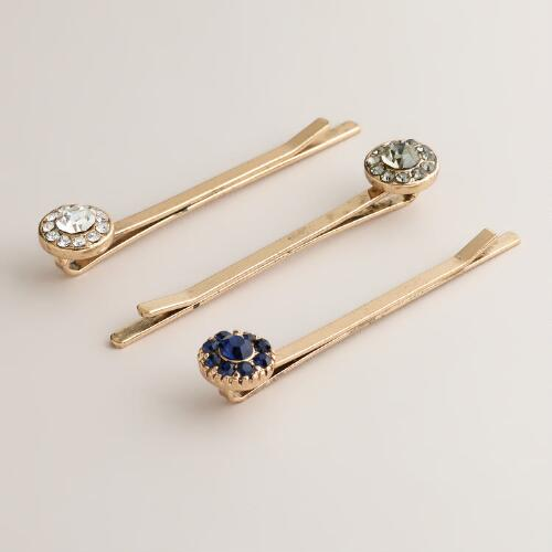 Blue and Crystal Round Stone Pins, Set of 3