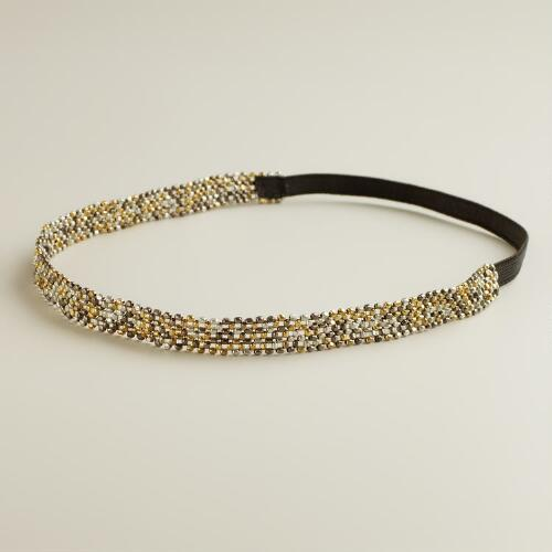 Gold and Silver Bead Stretch Headband