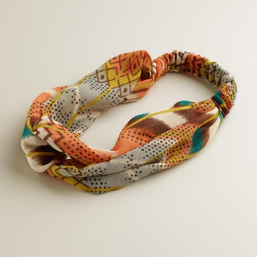 Peach and Green Ikat Headband