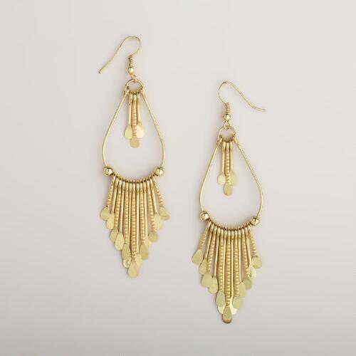Gold Spoke Teardrop Earrings