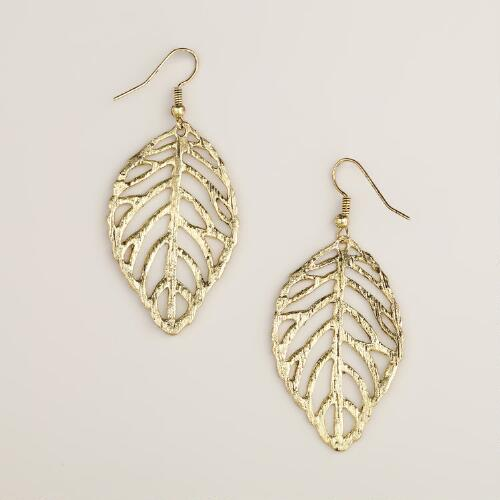 Gold Textured Leaf Earrings