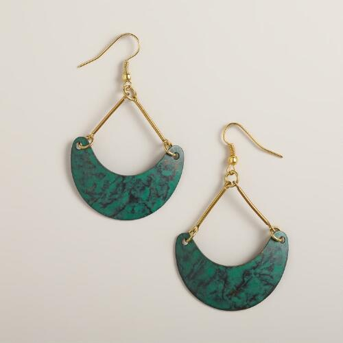 Turquoise and Gold Hammered Crescent Earrings