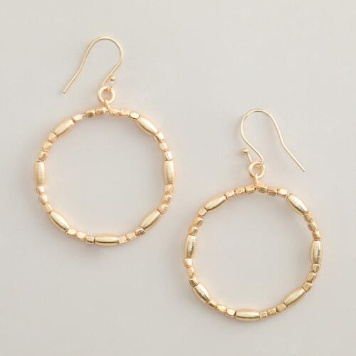 Medium Gold Bead Hoop Earrings
