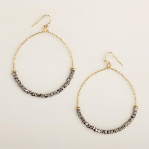 Large Gold and Hematite Bead Hoop Earrings