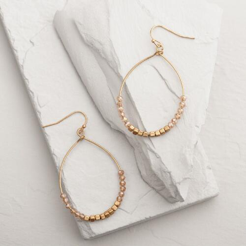 Gold Beaded Bottom Hoop Earrings