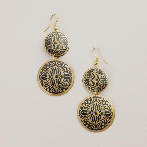 Gold and Green Double Drop Earrings