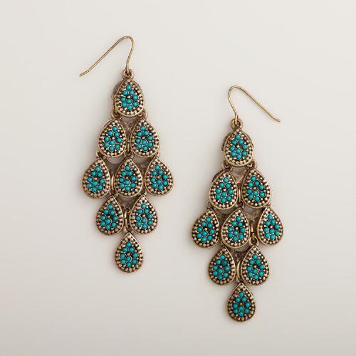 Gold and Teal Chandelier Earrings