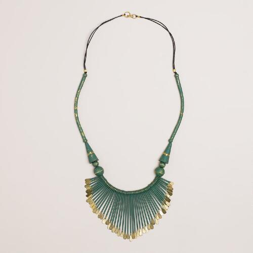 Green and Gold Fan Necklace