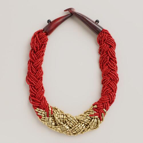 Gold and Red Braided Bead Necklace