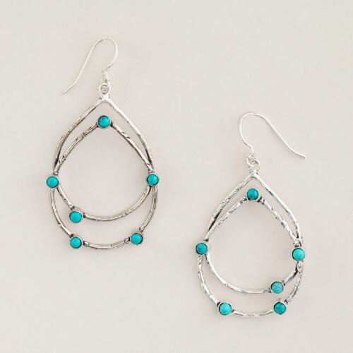 Silver and Turquoise Stationary Earrings