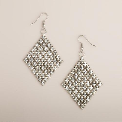 Silver Chainmail Diamond Earrings