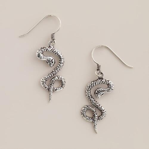 Silver Snake Drop Earrings