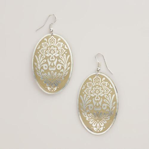 Silver and Beige Metal Drop Earrings