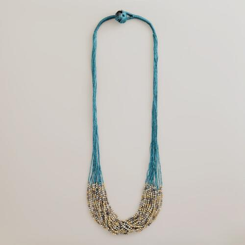 Teal and Gold Seed Bead Necklace