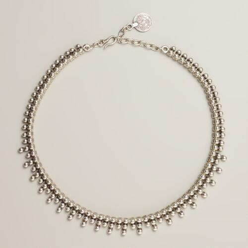 Short Silver Ball Necklace