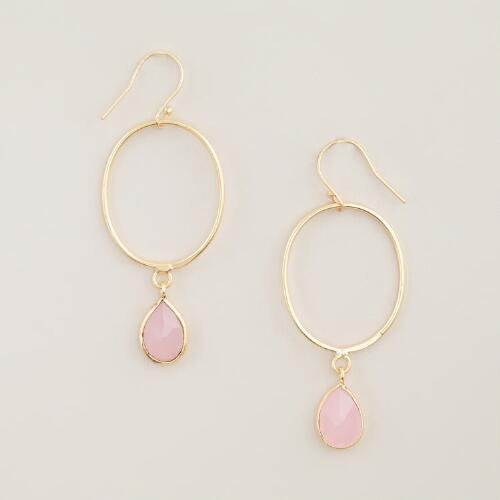 Gold with Pink Stone Drop Hoop Earrings