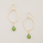 Gold with Green Stone Drop Hoop Earrings