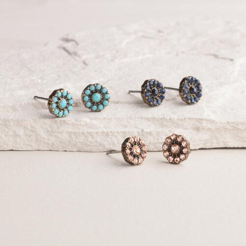 Turquoise, Blue and Pink Stud Earrings, Set of 3