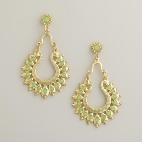 Gold and Mint Statement Chandelier Earrings